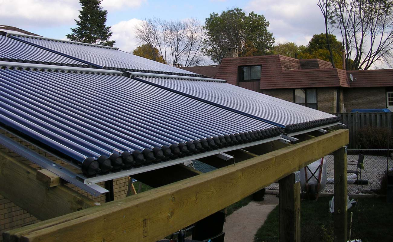 Front view of a solar collectors installed in Mississauga