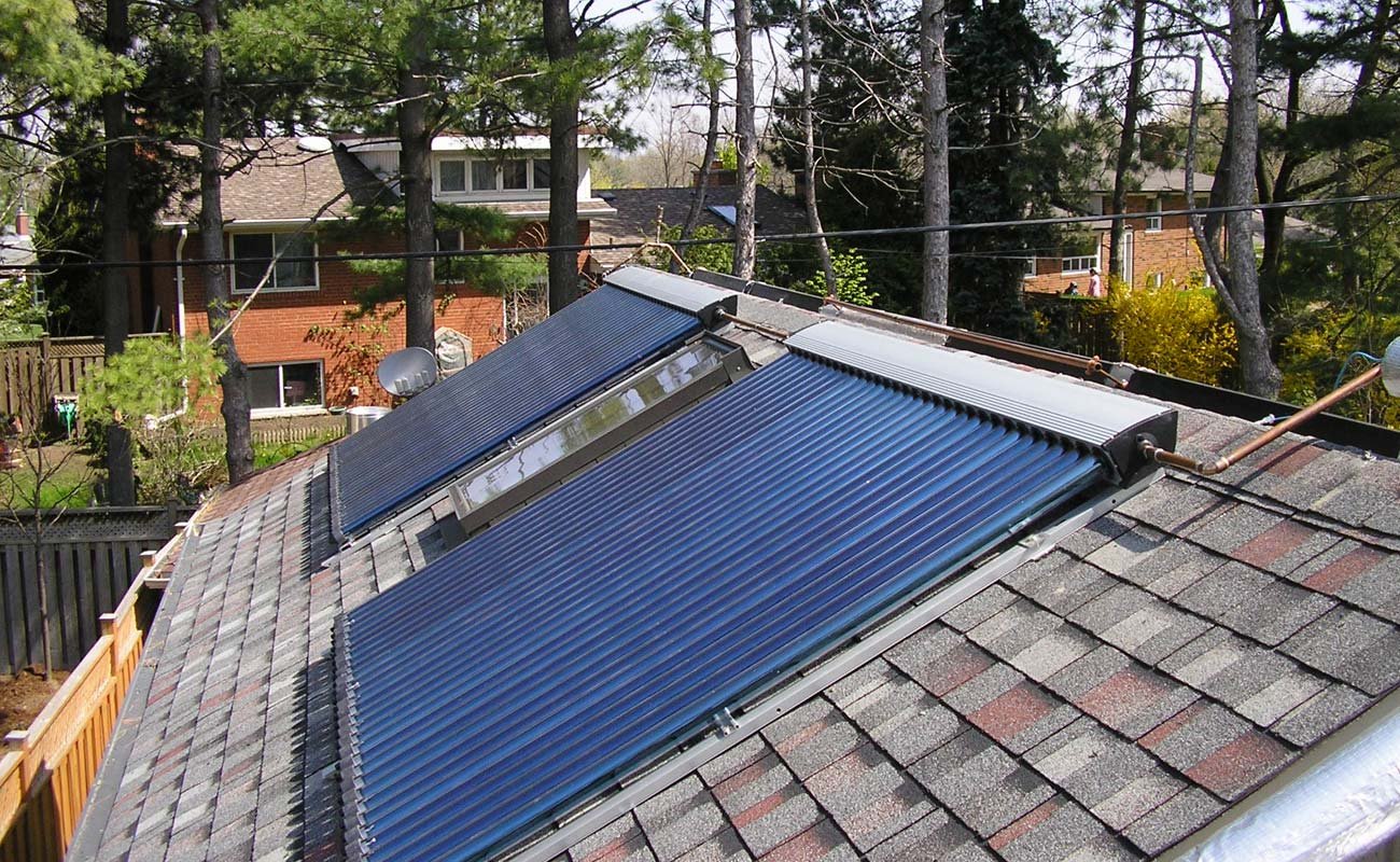 Solar collectors working as pool heating system